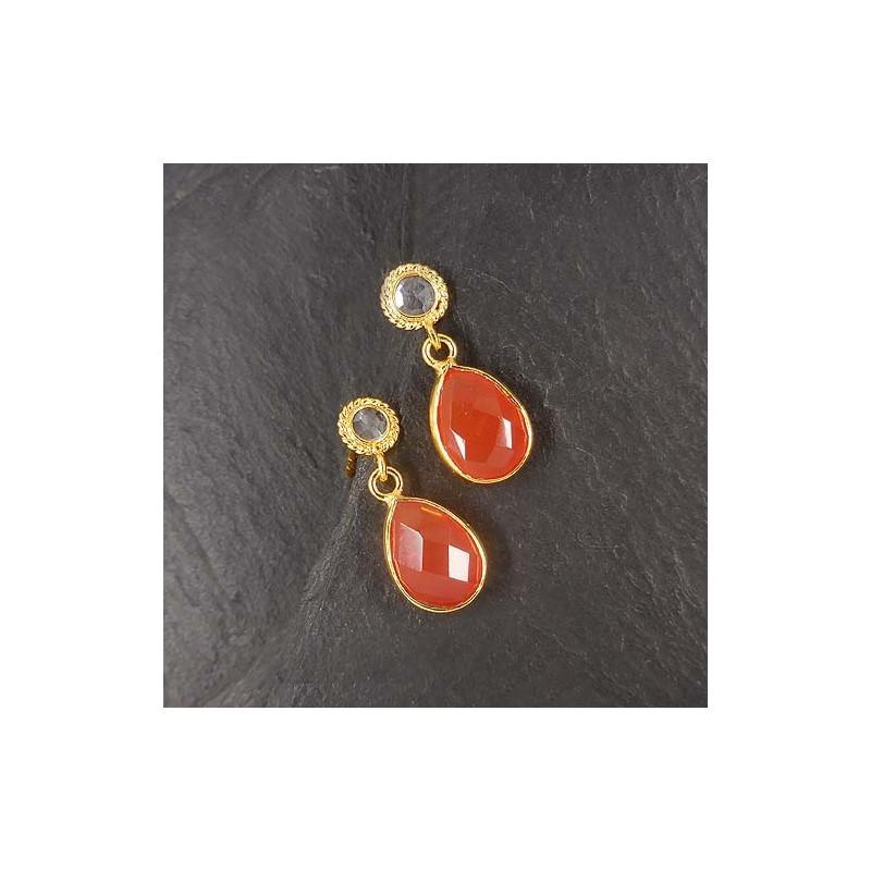 Karneol Ohrringe mit Bergkristall vergoldet