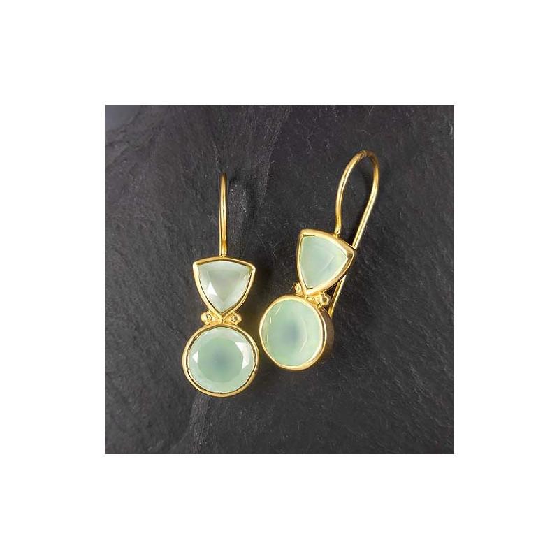 Calcit Ohrringe mit 2 Steinen vergoldet