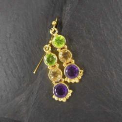 Amethyst Ohrringe mit Citrin und Peridot vergoldet