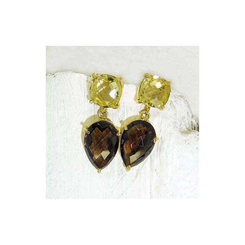 Rauchquarz Ohrringe mit Karneol, Perle und Kristall, vergoldet
