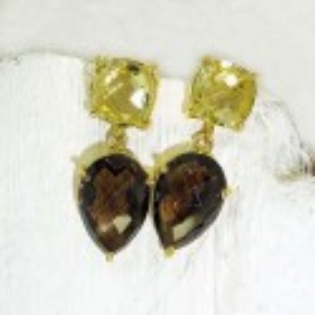 Rauchquarz Ohrringe mit Granat und Mondstein, vergoldet