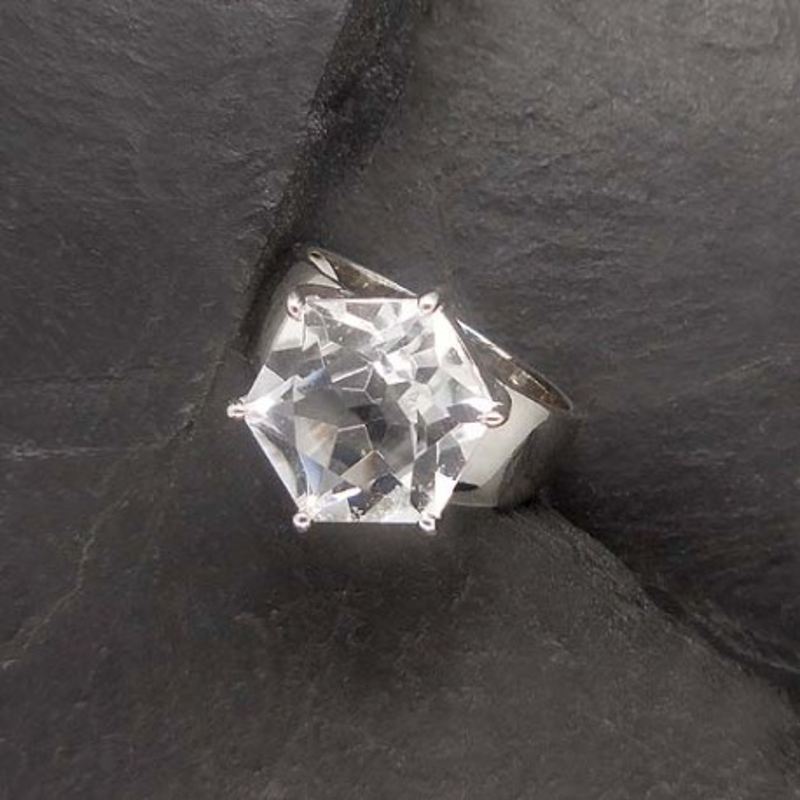 Bergkristall Ring 6 Eck