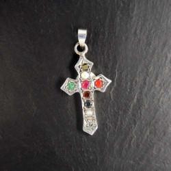 Silberkreuz mit verschiedenen Edelsteinen