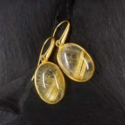 Rutilquarz Ohrringe Oval vergoldet
