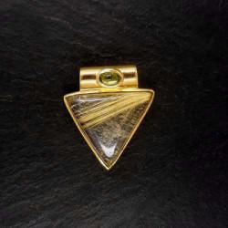 Rutilquarz Anhänger mit Peridot vergoldet