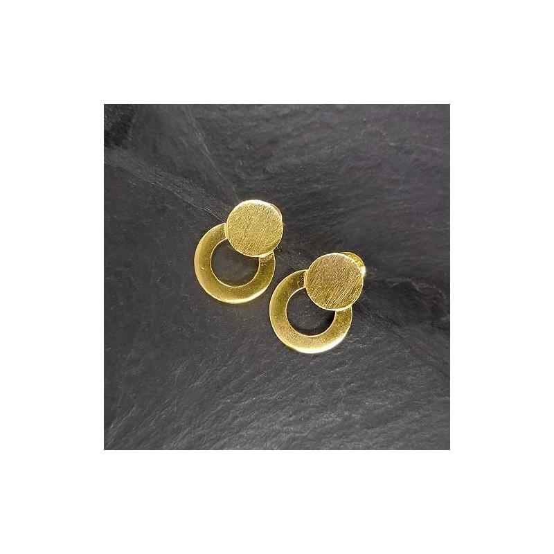 Silberohrstecker 2 Kreise Vergoldet