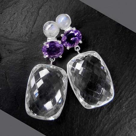 Bergkristall Ohrringe mit Amethyst und Mondstein