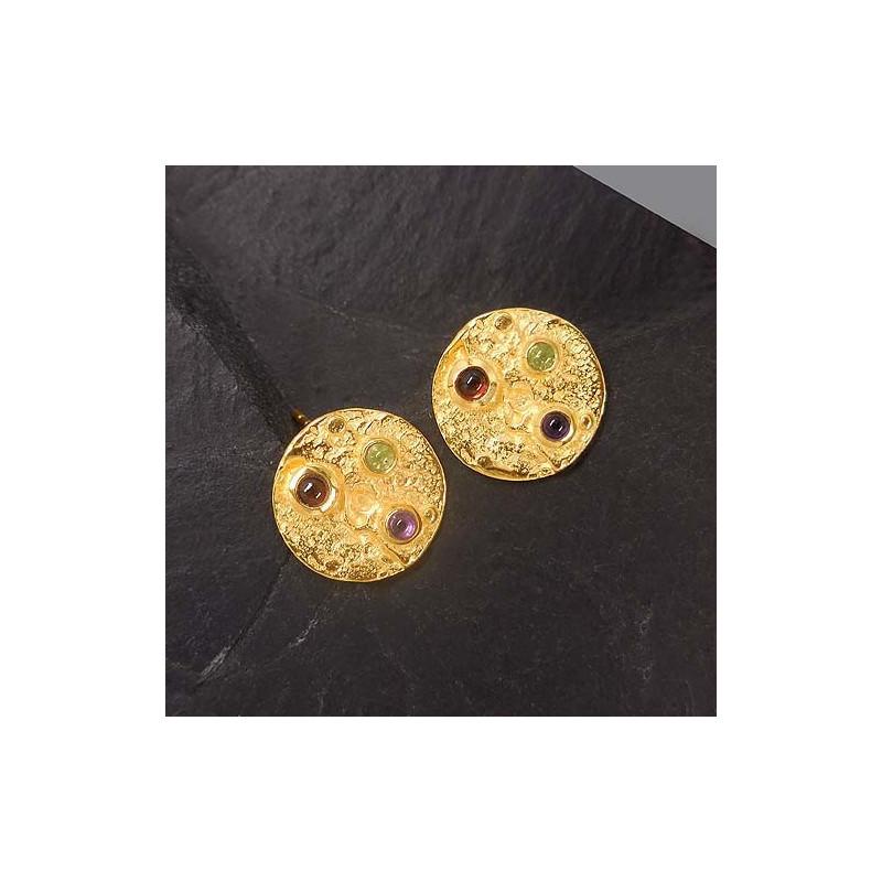 Ohrstecker mit grünem Achat, Citrin und Karneol vergoldet