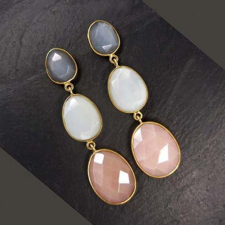 Mondsteinohrringe grau, weiß und rosa, vergoldet