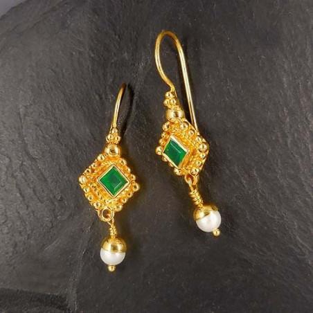 Grüne Achat Ohrringe mit Süßwasserperle, vergoldet