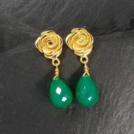 Grüne Achat Ohrringe Rose Vergoldet