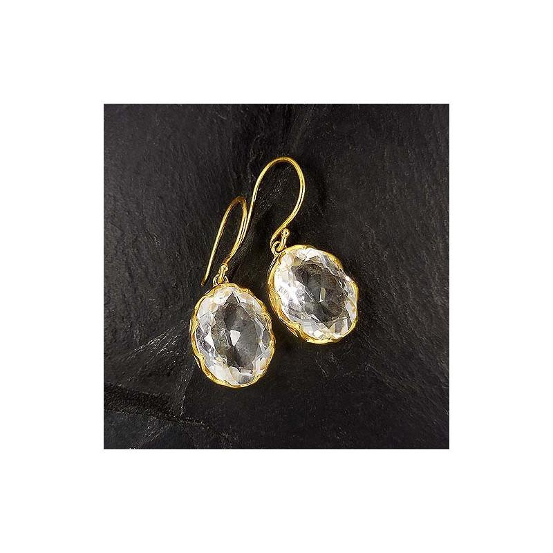 Bergkristall Ohrringe Oval Vergoldet