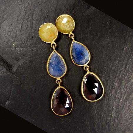 Saphir Korund Ohrringe 3-farbig Vergoldet