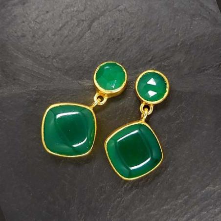 Grüne Achat Ohrringe 2 Steine Vergoldet