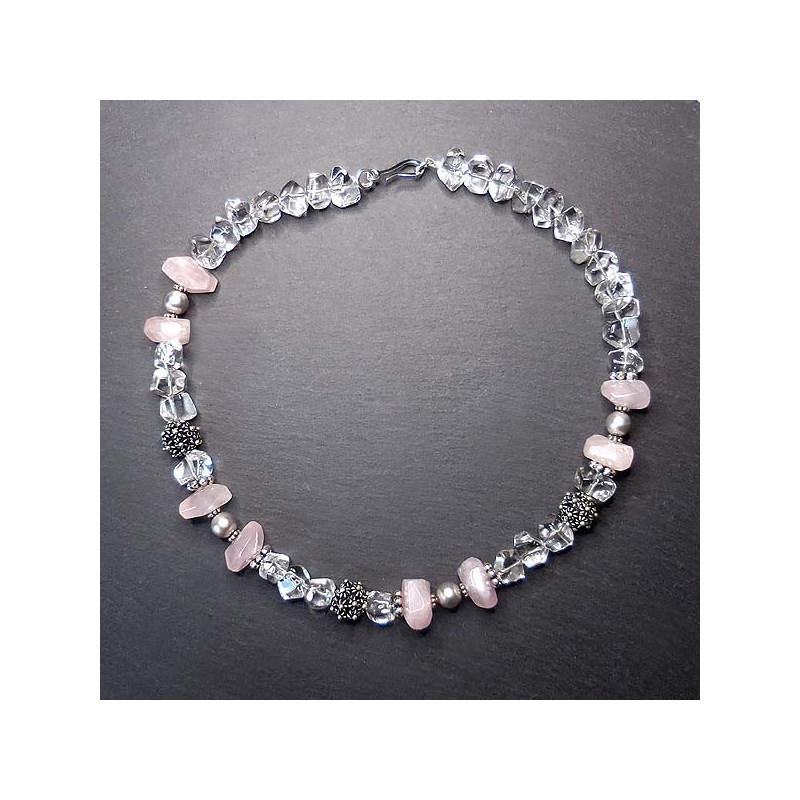 Bergkristall Kette mit Perle, Rosenquarz und Silber