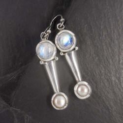 Mondstein Ohrringe mit Perle