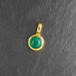 Grüner Achat Anhänger Rund Mini Vergoldet