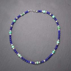 Lapis Lazuli Kette mit Türkis, Süßwasserperle und Silber