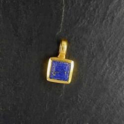 Lapis Lazuli Anhänger Mini Eckig Vergoldet