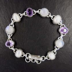 Amethyst Armband mit Mondstein und Perle
