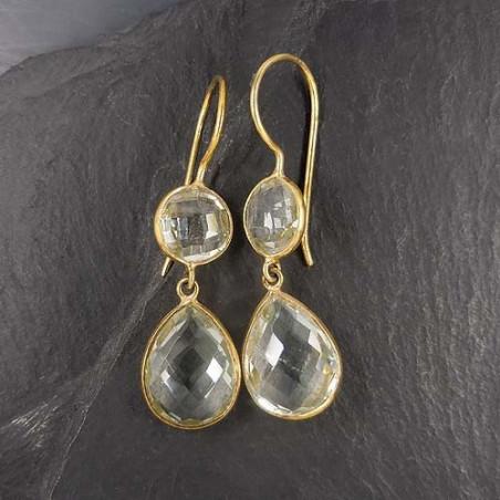 Prasiolith Ohrringe mit 2 Steinen Vergoldet