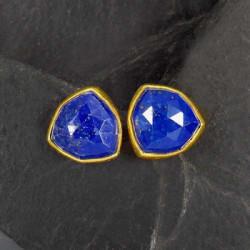 Lapis Lazuli Ohrstecker Dreieck Vergoldet