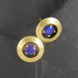 Lapis Lazuli Ohrstecker Rund Vergoldet