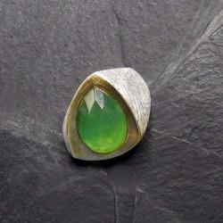 Prehnit Ring Teilvergoldet