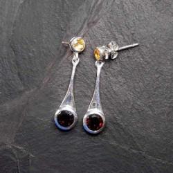 Granat Ohrringe mit Citrin
