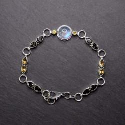 Mondstein Armband mit Rauchquarz und Citrin