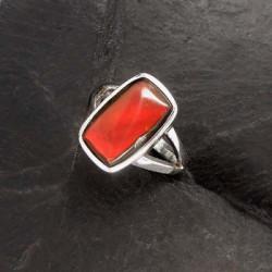 Ammolit Ring Eckig
