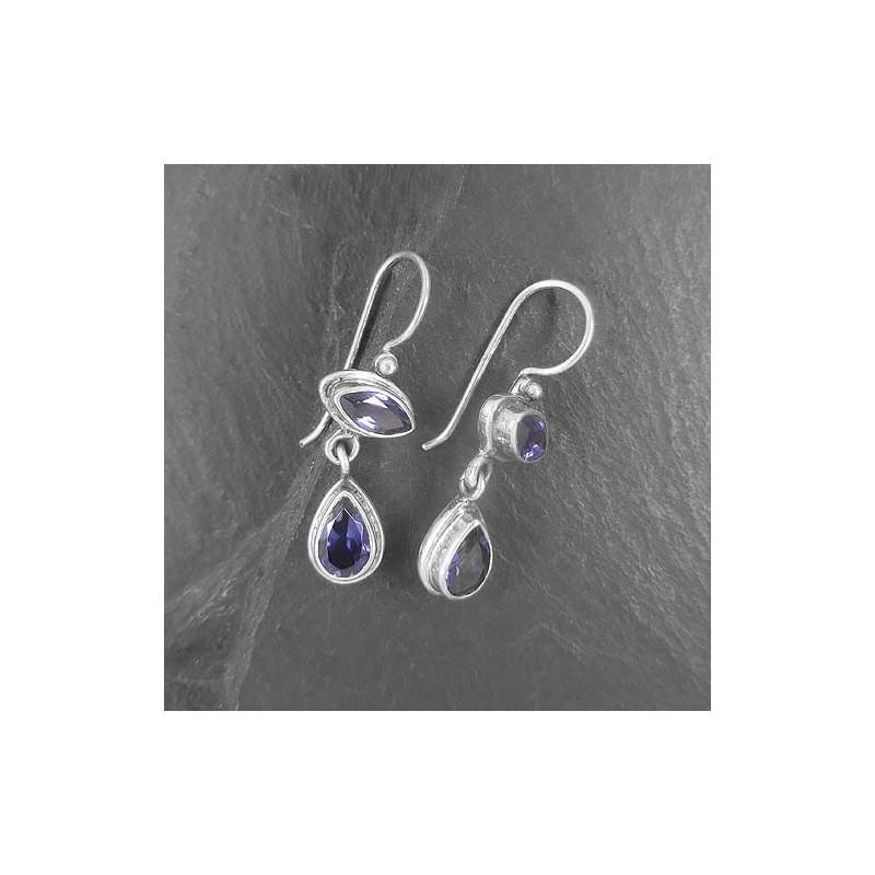 Iolit Ohrringe mit 2 Steinen