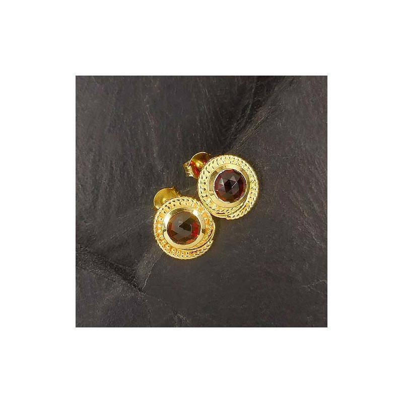 Granat Ohrstecker Schnecke Vergoldet