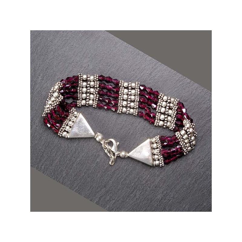 Granat Armband 5-Reihig