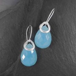 Calcit - Ohrringe Tropfen Blau