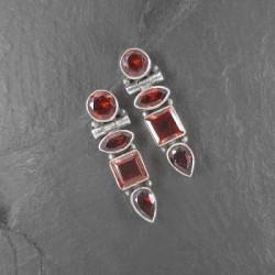 Granat-Ohrringe Stecker